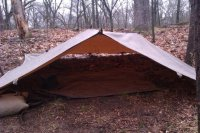 This tarp has tie outs sewn in every 2 feet down the center seam lending itself to even more versatility. Here I basically staked out the corners and strung ... & Configurations with Tentsmiths oilskin trail tarp | Bushcraft USA Forums
